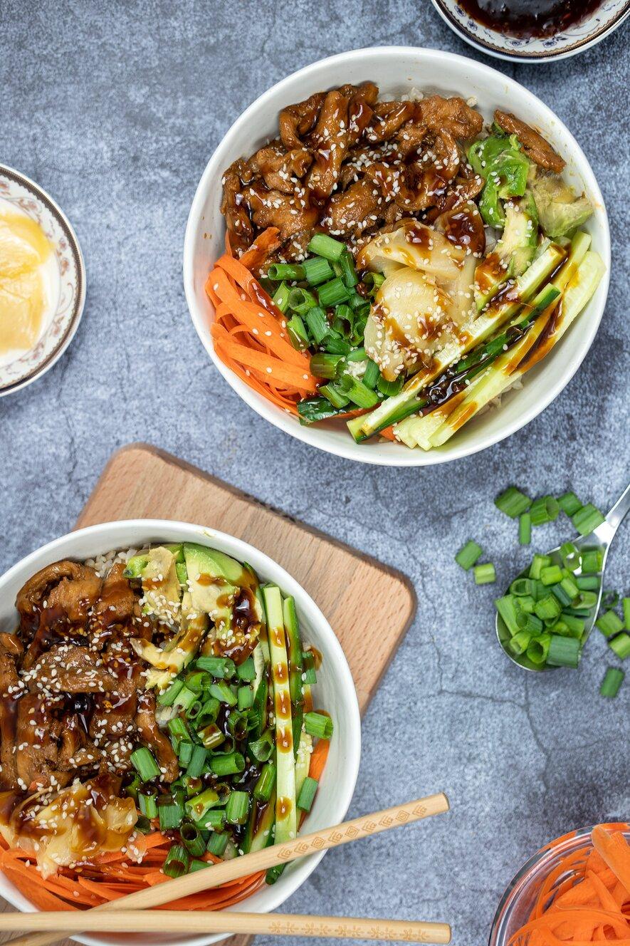 Vegan Sushi Bowl with Homemade Teriyaki Sauce