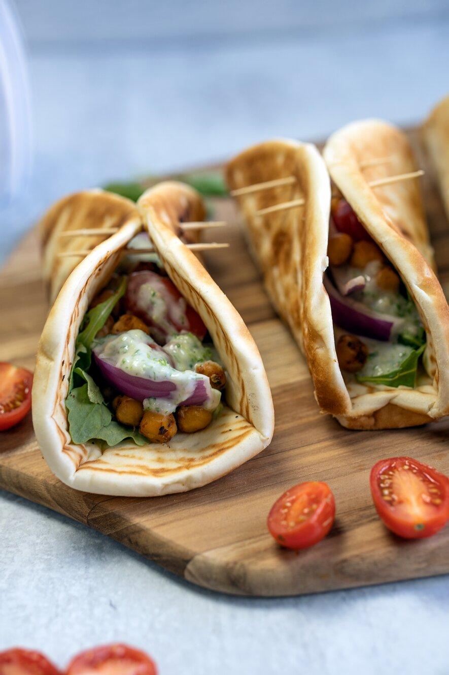 Vegan Gyros with Homemade Tzatziki Sauce & Roasted Chickpeas